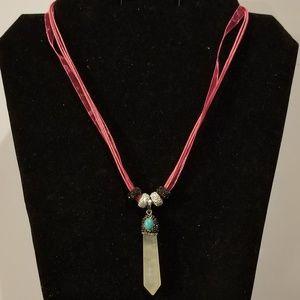 Rock Crystal Pave Cystal Pendulum Necklace